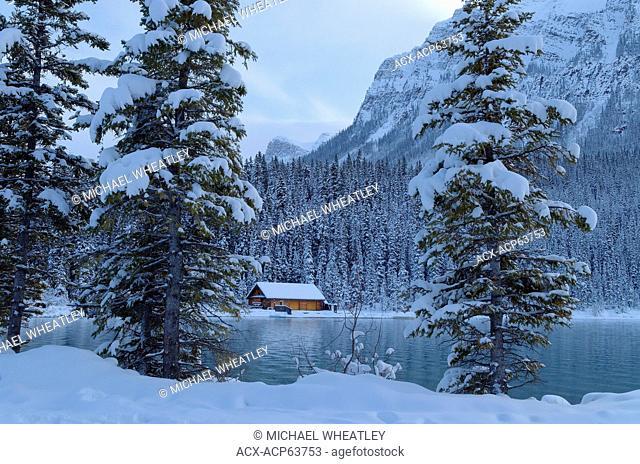 Cabin at Lake Louise in Winter, Banff National Park, Alberta, Canada