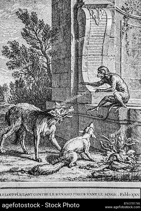 the wolf pleading against the fox, fables of the fountain, publisher talan, dier 1904, drawing by j. b. oudry