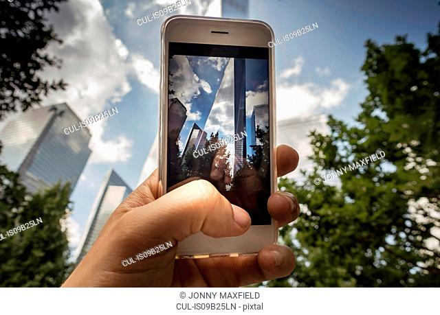 Iconic buildings, World Trade Centre on screen of cellphone, New York, USA