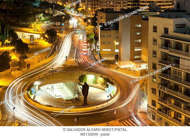 Night view of the city of Alicante, Spain, Europe