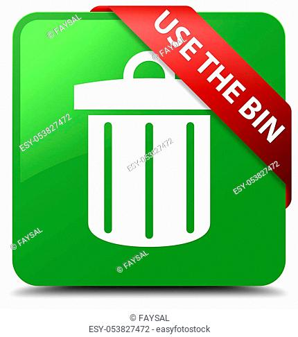 Use the bin (trash icon) isolated on soft green square button with red ribbon in corner abstract illustration