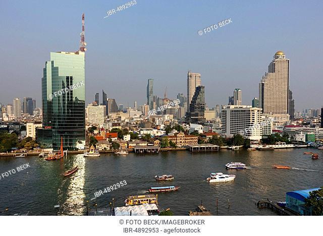 City view from Icon Siam on CAT Building at Mae Nam Chao Phraya, Bang Rak District and Khlong San District in Thonburi, Bangkok, Thailand