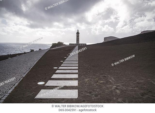Portugal, Azores, Faial Island, Capelinhos, Capelinhos Volcanic Eruption Site, lighthouse, sunset