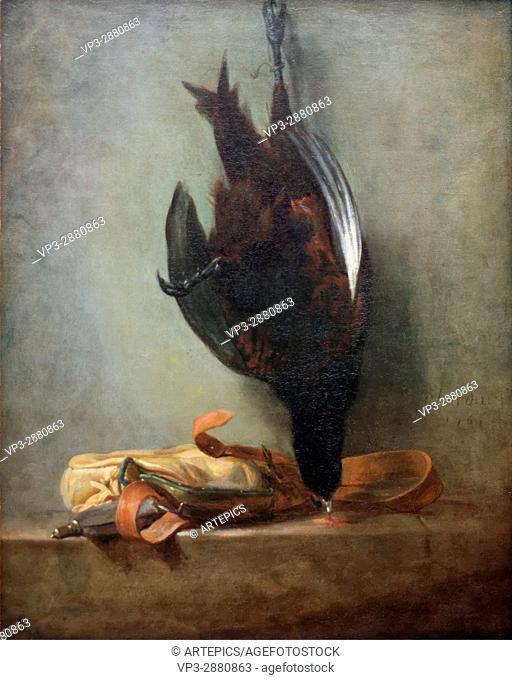 Jean-Baptiste Siméon Chardin - Still Life with Dead Pheasant and Hunting Bag - 1760 - XVIII th Century - French School - Gemäldegalerie - Berlin