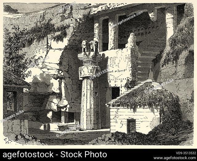 Facade of the Great Chaitya. Karli, India. Old engraving illustration from El Mundo en la Mano 1878