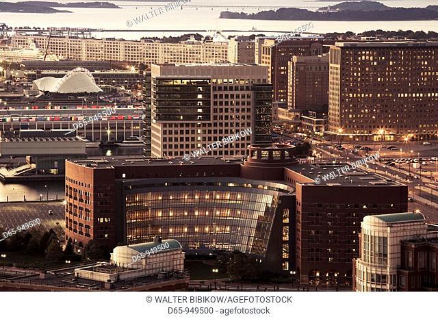 USA, Massachusetts, Boston, South Boston waterfront, high angle view, dawn