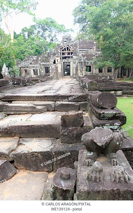 Entry to temple Banteay Kdei, within the temple complex of Angkor, Siem Reap, Cambodia