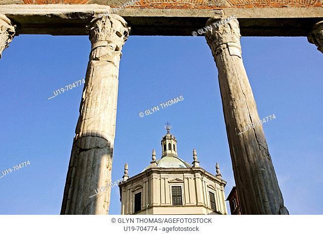 Colonne di San Lorenzo and Basilica di San Lorenzo Maggiore, Milan, Italy