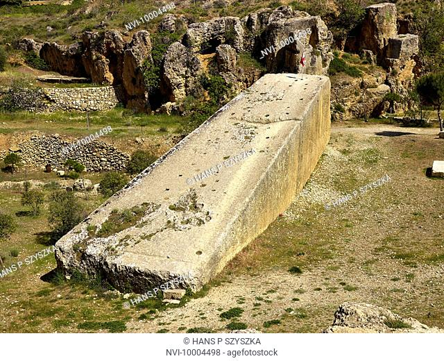 Stone of the pregnant woman, a former quarry with monolith in Baalbek, Lebanon, Middle East