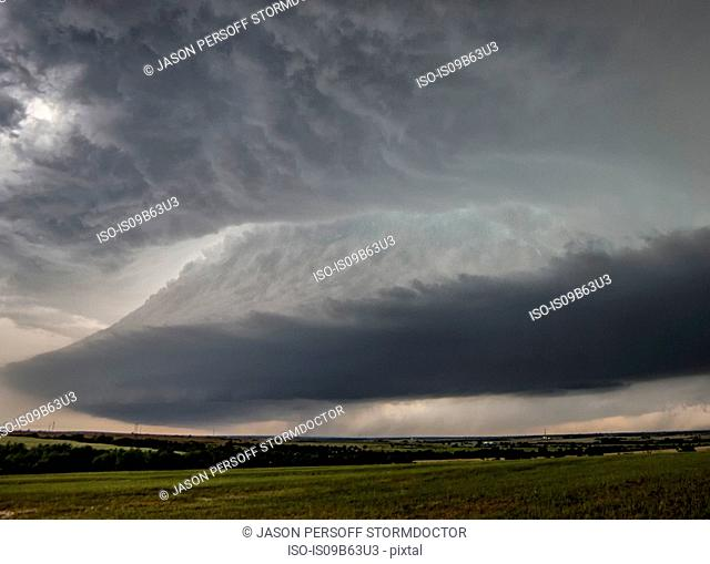 Bell shaped updraft of rotating supercell over rural area, Chester, Oklahoma, United States, North America