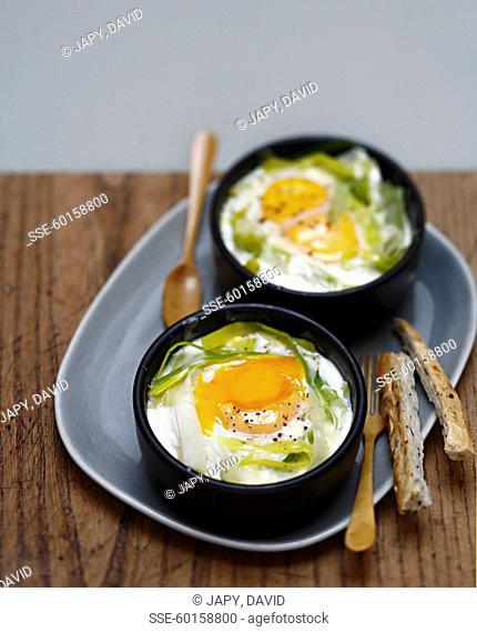 Coddled eggs with leeks