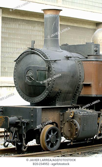 Steam locomotive at museum of railway history. Azpeitia. Guipúzcoa, Euskadi. Spain