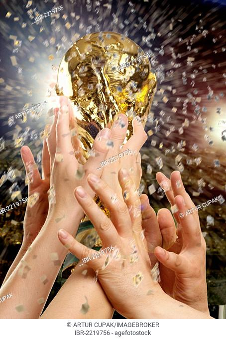 Football World Cup, holding hands up a trophy with confetti