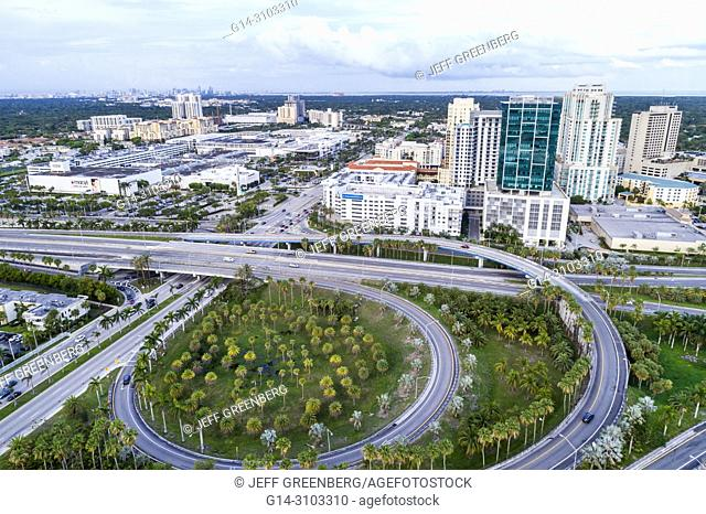 Florida, Miami, Town Center One At Dadeland, Palmetto Expressway, highway, entrance exit, city skyline, office buildings, Dadeland Mall