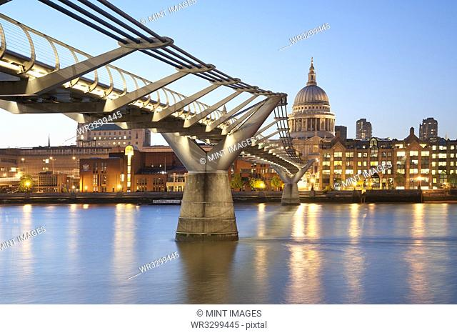 Millennium Bridge and St Paul's at Sunset