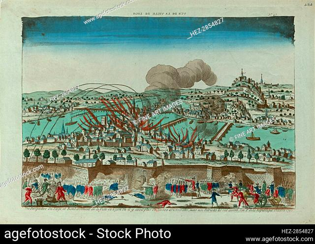 Perspective view of the Siege and Bombardment of the City of Lyon in October 1793, c. 1793. Creator: Anonymous