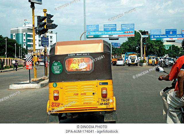 Auto rickshaw ; Madras Chennai ; Tamil Nadu ; India 18-July-2008