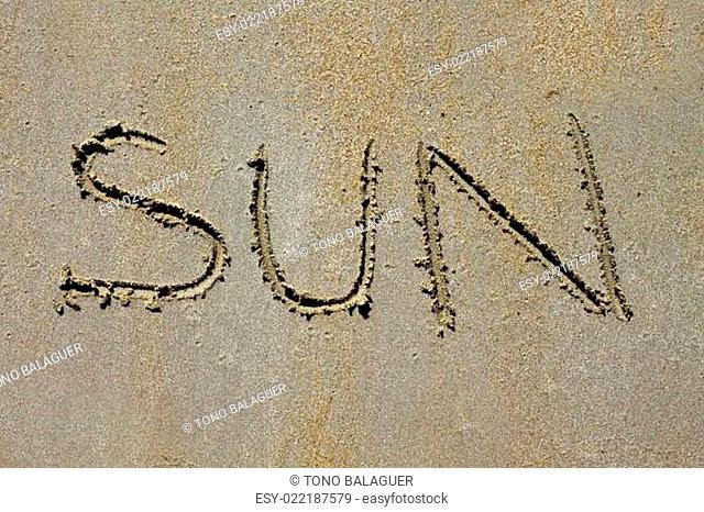 word sun spell on beach wet summer sand