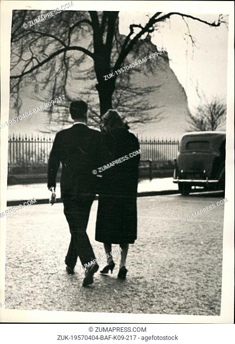 Apr. 04, 1957 - Judge Order that the 'Runaway Lovers' Must return to London.: The 'runaway lovers' - nineteen year old Tessa Kennedy daughter of a consultant...