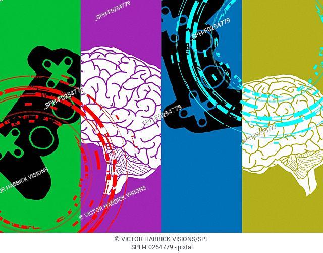 Gaming addiction, conceptual illustration