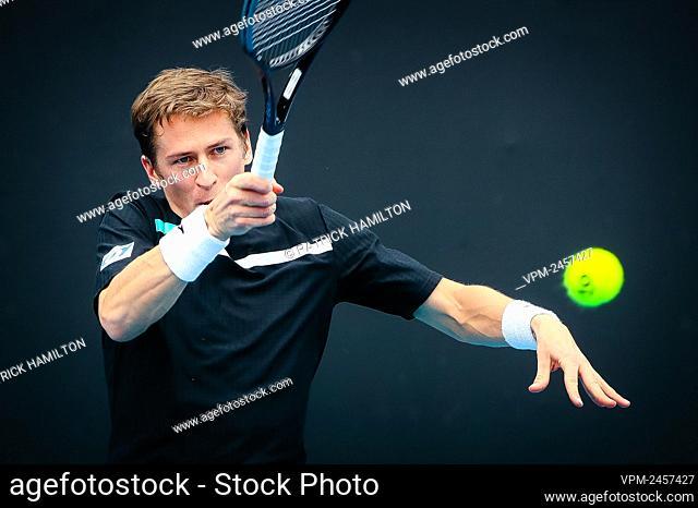 Belgian Kimmer Coppejans pictured during a tennis match between Belgian Kimmer Coppejans (ATP 158) and Canadese Brayden Schnur (ATP 103)
