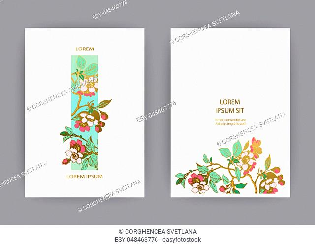 Botanical wedding invitation card template design, hand drawn sakura flowers and leaves on branches, vintage rural cherry blossom on white background