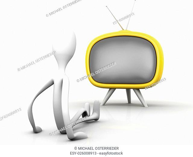 Watching TV. 3D rendered cartoon illustration