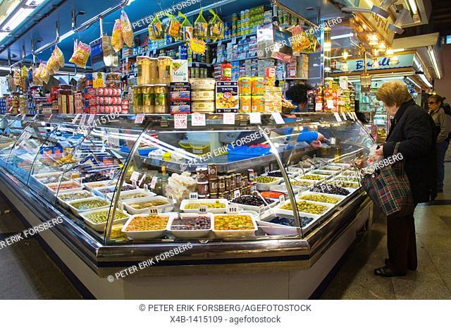 Delicacy stall Mercat Santa Caterina market hall Sant Pere district Barcelona Catalunya Spain Europe