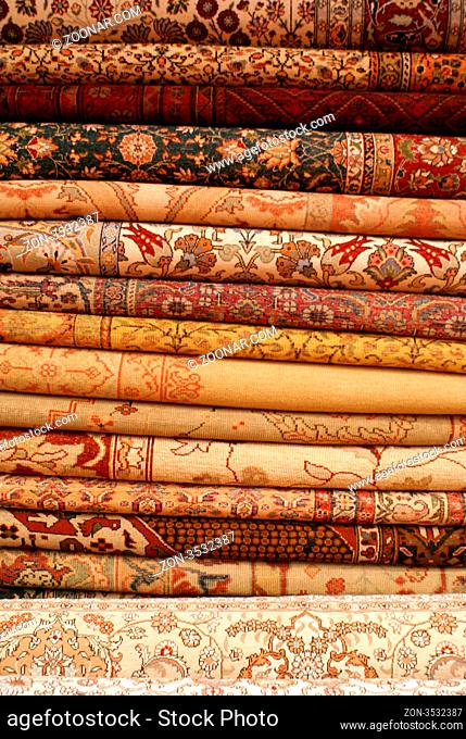 Many carpets in the shop in Istanbul, Turkey