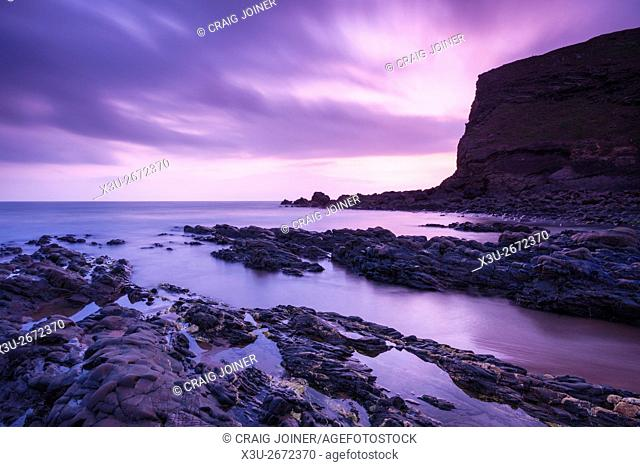 Dusk at Duckpool on the North Cornwall coast near Bude, England