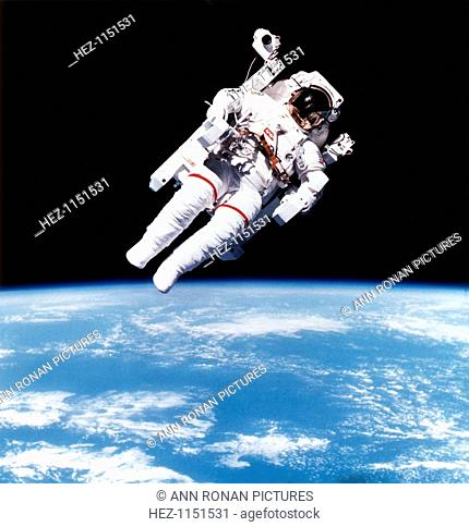 US Astronaut Bruce McCandless on Mission 41-B on extravehicular space movement using first nitrogen-propelled, hand-controlled, tether-free device