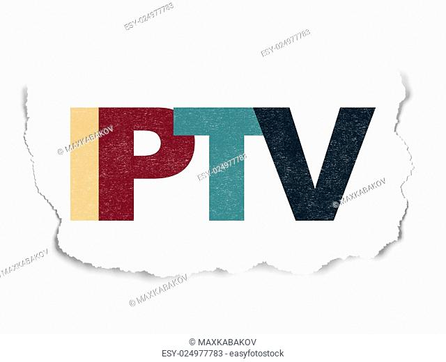 Web design concept: Painted multicolor text IPTV on Torn Paper background, 3d render