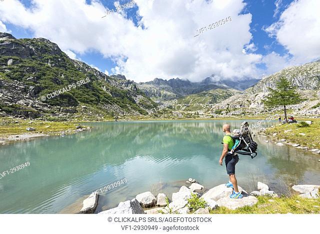 Tourist to the lower Cornisello lake