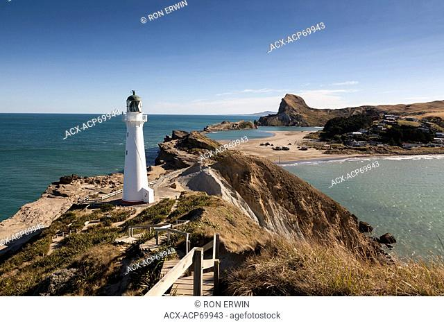 Castlepoint Lighthouse on the North Island, New Zealand