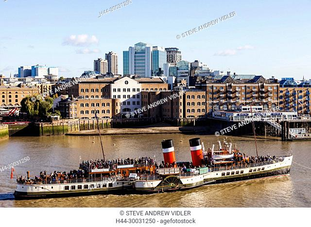England, London, Paddle Steamer Waverley on The River Thames