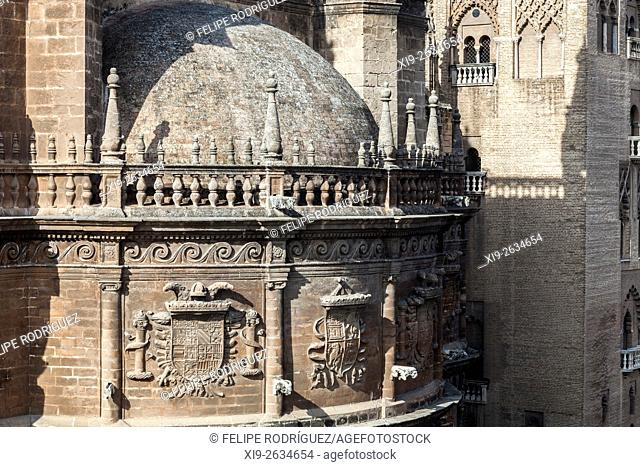 Emperor Charles V badge on the wall of the Cathedral, Seville, Spain