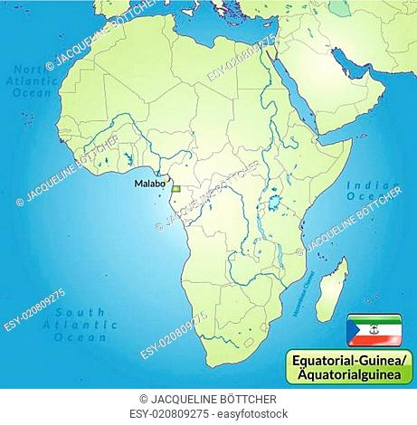 Umgebungskarte von Aequatorialguinea mit Hauptstädten in Grün