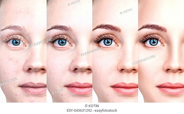 Young woman applying make-up step by step. Before and after make-up