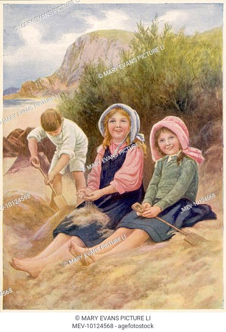 While their brother digs energetically, his two sisters are happy just to sit on the sand and let it sift through their fingers.