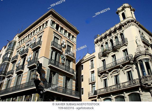 Casa Bruno Quadros on Las Ramblas, decorated with oriental umbrellas, Barcelona. Catalonia, Spain