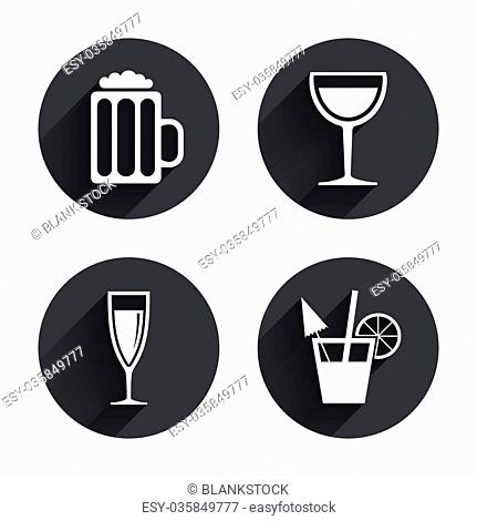 d2c98ed402 Alcoholic drinks icons. Champagne sparkling wine and beer symbols. Wine  glass and cocktail signs