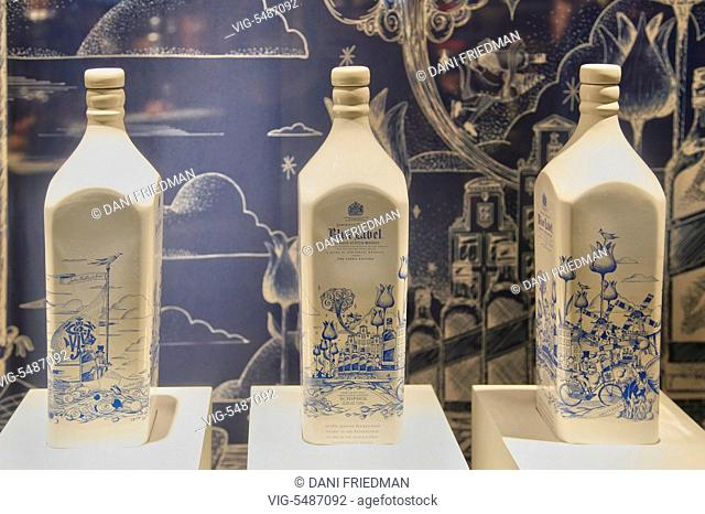 NETHERLANDS, AMSTERDAM, 26.12.2015, Special addition Delft Pottery bottles of Johnnie Walker blue label Scotch whisky on display in a shop at the Amsterdam...