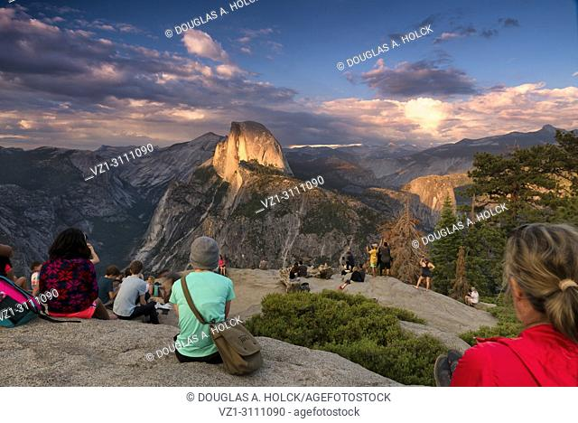 Anticipating a Half Dome Sunset from Glacier Point in Yosemite National Park, USA
