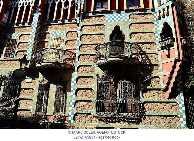 Detail. Casa Vicens 1878-1880 designed by Antoni Gaudi. UNESCO World Heritage Site. Gràcia quarter, Barcelona, Catalonia, Spain