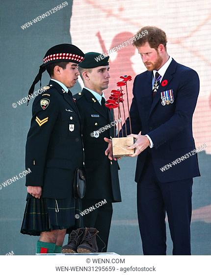 The Prince of Wales, The Duke of Cambridge and Prince Harry attend the Centenary of the Battle of Vimy Ridge Featuring: Prince Harry Where: Vimy