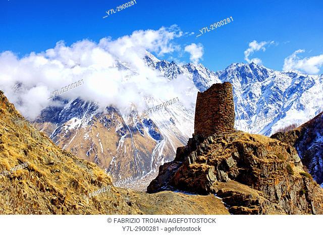 Old watch tower near Gergeti, Georgia