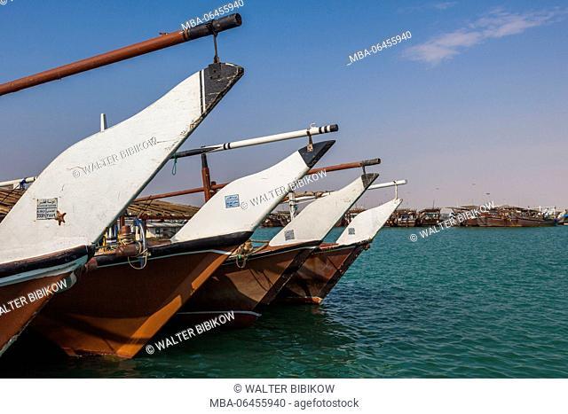Qatar, Al-Khor, dhows in the fishing port