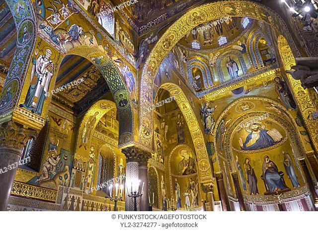 Medieval Byzantine style mosaics of the main aisle of the Palatine Chapel, Cappella Palatina, Palermo, Italy