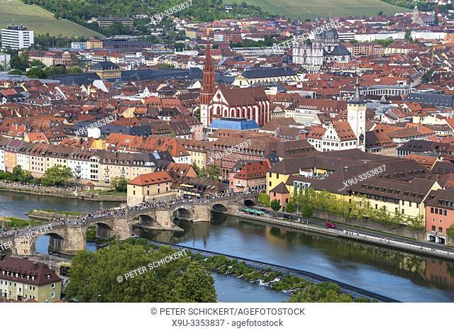 Stadtansicht Würzburg von der Festung Marienberg gesehen Würzburg, Unterfranken, Bayern, Deutschland   Würzburg city view seen from the Fortress Marienberg