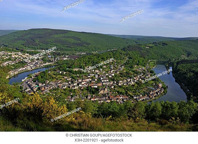 meander of Meuse River at Montherme, Ardennes department, Champagne-Ardenne region of northeasthern France, Europe
